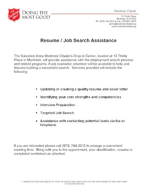 salvation army job search resume writing assistance montclaircares